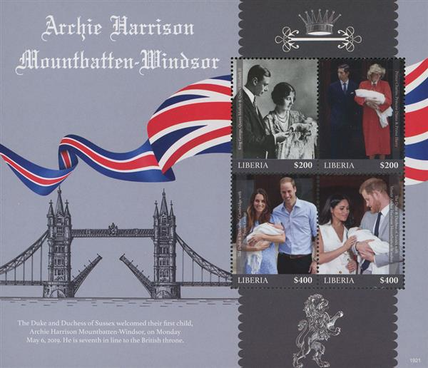 2019 $200 & $400 Master Archie Harrison Mountbatten-Windsor Birth, Sheet of 4 Stamps, Mint, Liberia