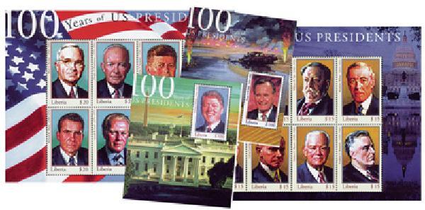 2000 US Presidents Mint Sheets, Set of 4, Liberia