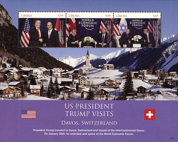 2018 President Trump Visits Davos, Switzerland, Mint Sheet of 3 Stamps