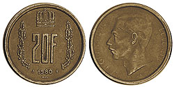 1990 Luxembourg 20-franc Coin