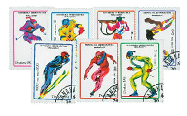 1991 Used Winter Olympics, 7 stamps