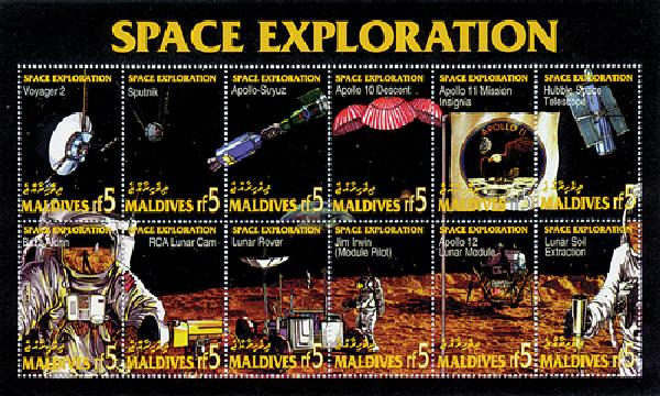 Maldives Space Exploration Mint Sheetlet