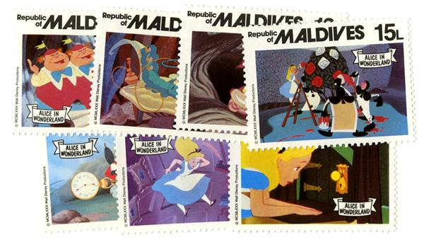 1980 Disneys Alice In Wonderland, Mint, Set of 7 Stamps