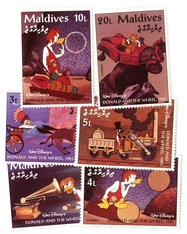 1995 Disneys 1961 Donald and The Wheel, Mint, Set of 6 Stamps, Maldives