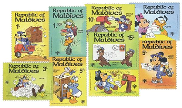 1979 Disney Characters Handle the Mail, Mint, Set of 9 Stamps, Maldives