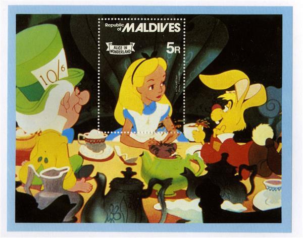 1980 Disneys Alice in Wonderland, Mint Souvenir Sheet, Maldives
