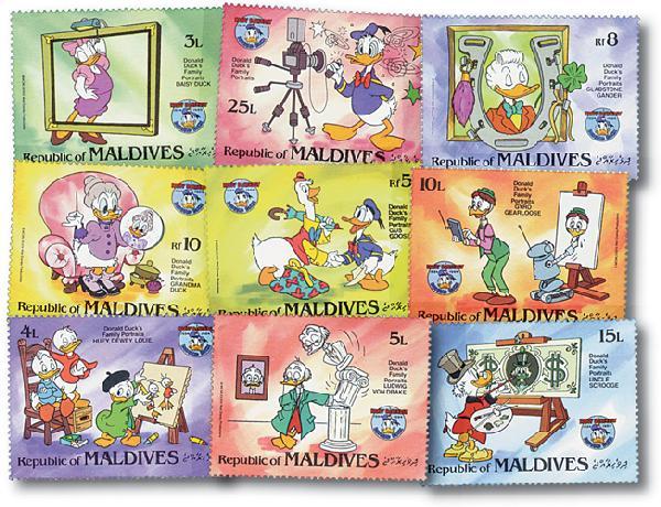 Maldives 1984 Donald Cartoons, 9 Stamps
