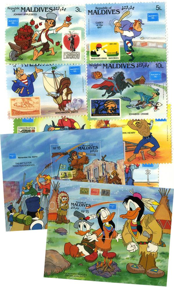 1982 Disney Commemorates AMERIPEX 86, Mint, Set of 8 Stamps and 2 Souvenir Sheets, Maldives
