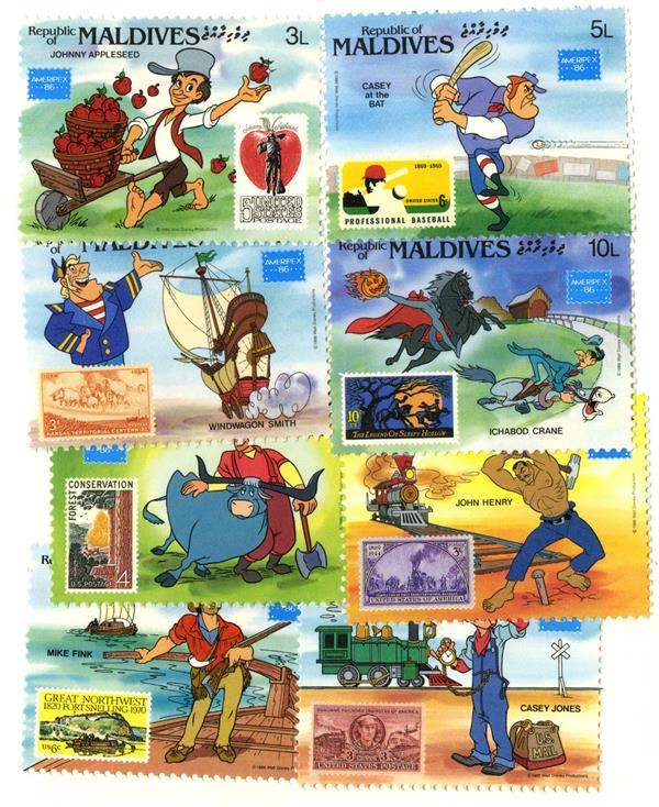 1982 Disney Commemorates AMERIPEX 86, Mint, Set of 8 Stamps, Maldives