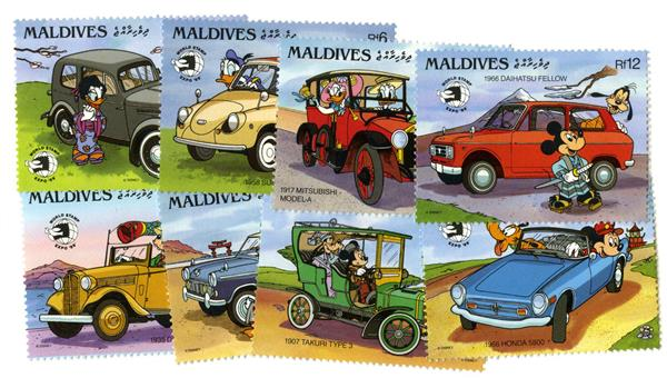 Maldives 1989 Japanese Auto's, 8 Stamps