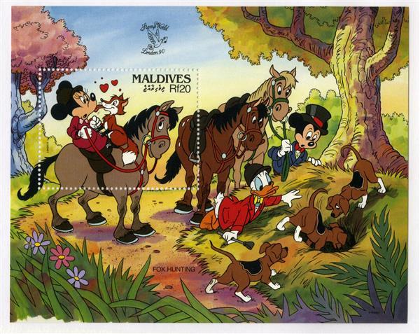 1990 Disney Commemorates World Stamp Expo 90, Mint Souvenir Sheet, Maldives