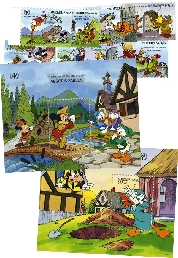 1990 Disney Characters in Aesops Fables, Mint, Set of 8 Stamps and 2 Souvenir Sheets, Maldives