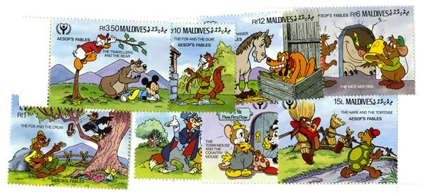 Maldives 1990 Aesop's Fables, 8 Stamps