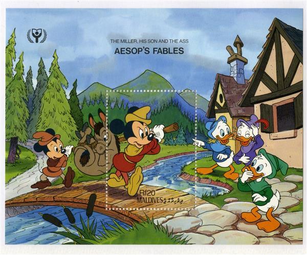 1990 Disney Characters in Aesops Fables, Mint Souvenir Sheet, Maldives