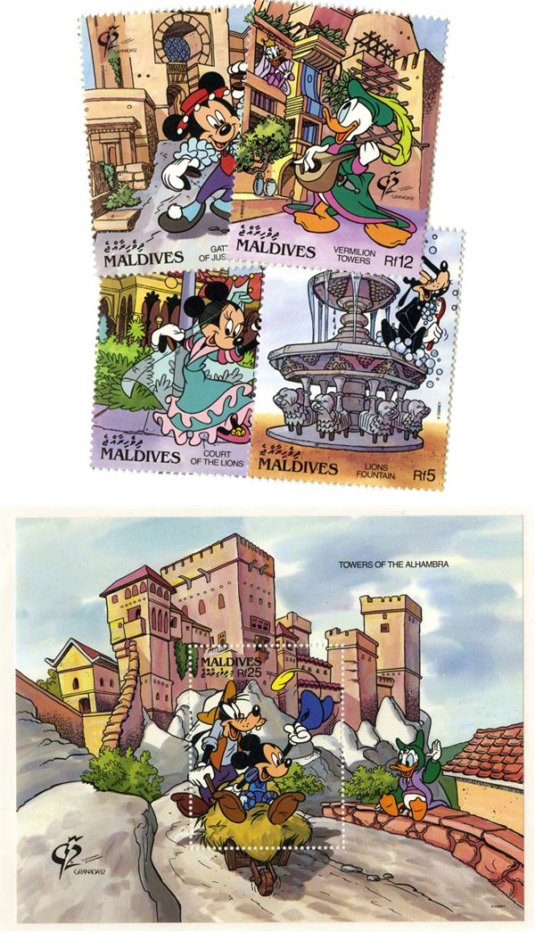 1992 Disney Characters Visit Old Alhambra, Mint, Set of 4 Stamps and Souvenir Sheet, Maldives