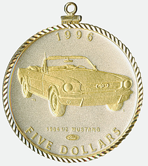 1996 $5 Mustang Diamond Bezel Gold & Silver