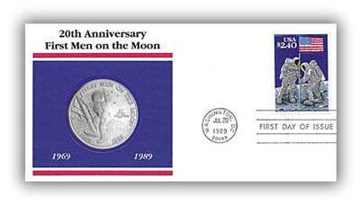 1989 $5 Marshall Islands Coin in Cover Celebrating the 20th Anniversary of the Moon Landing