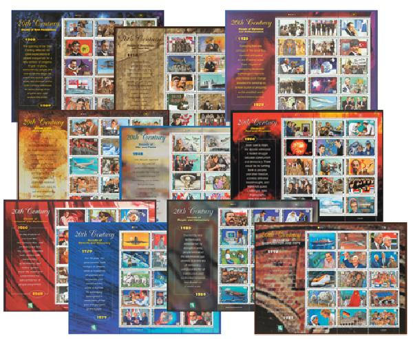 Marshall Islands stamps honoring milestones of the 20th century
