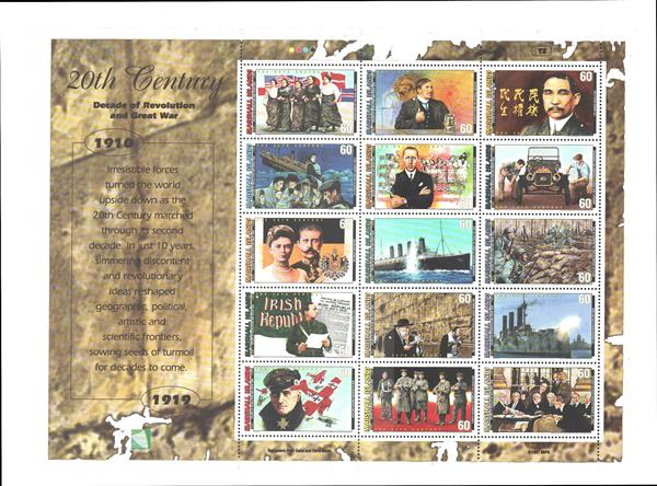 1997 Marshall Islands stamp sheet honoring the decade 1910-19