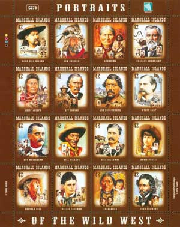 Item #M10245 – Mint sheet pictures Earp and other figures from the Old West.