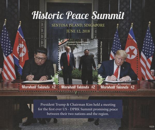 2018 $2 President Trump and Chairman Kim sign Treaty, Historic Peace Summit sheet of 3