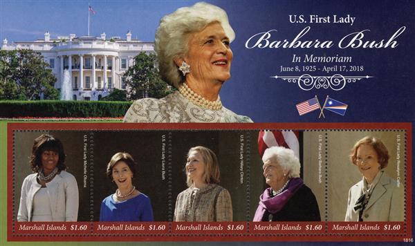 2018 $1.60 US First Lady Barbara Bush: In Memoriam 1925-2018 sheet of 5 stamps