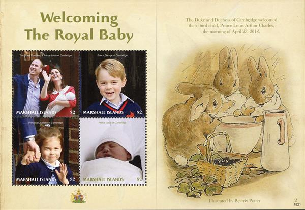 2018 $2 Welcoming the Royal Baby: Illustration by Beatrix Potter sheet of 4 stamps