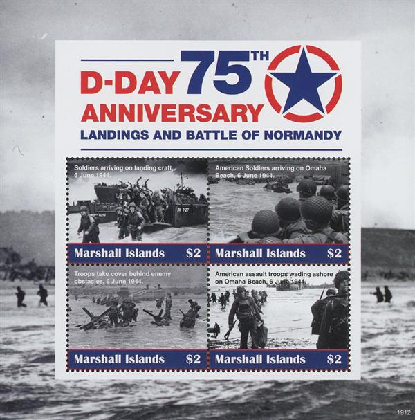 2019 Landings and Battle of Normandy, D-Day 75th Anniversary sheet of 4