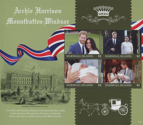 2019 Birth of Archie Mountbatten-Windsor sheet of 4