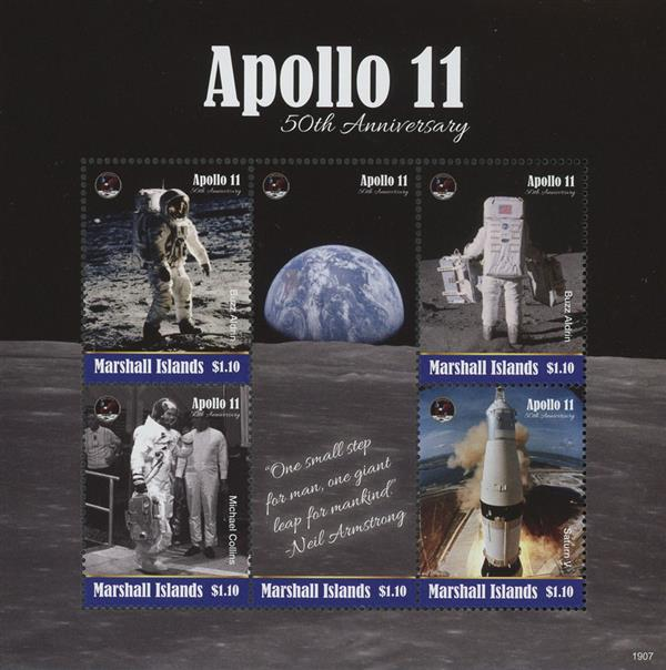 2019 Apollo 11 50th Anniversary, Mint Sheet of 5 Stamps, Marshall Islands