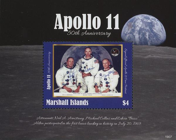 2019 Apollo 11 50th Anniversary, Mint Souvenir Sheet, Marshall Islands