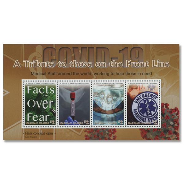 2020 $2 COVID-19: A Tribute to Front Line Workers, Mint, Sheet of 4 Stamps, Marshall Islands