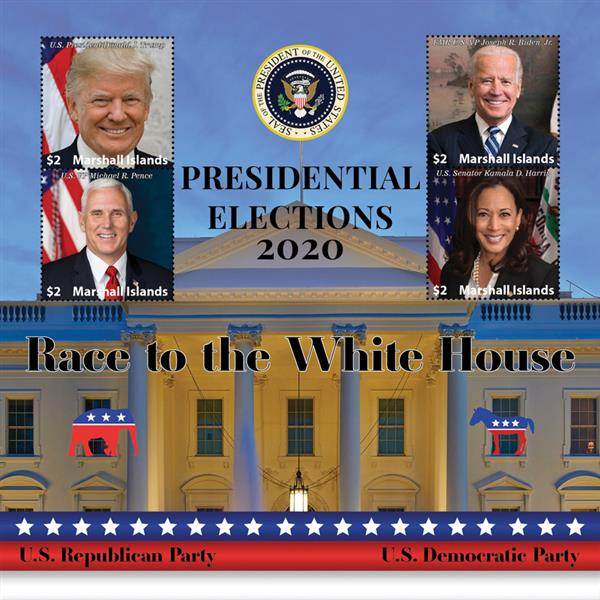 2020 $2 Presidential Elections - Biden & Harris, Trump & Pence, Mint Sheet, Marshall Islands