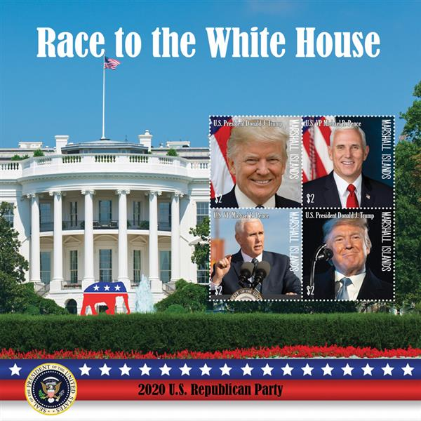 2020 $2 Race to the White House - Donald J Trump and Michael R Pence, Mint Sheet, Marshall Islands