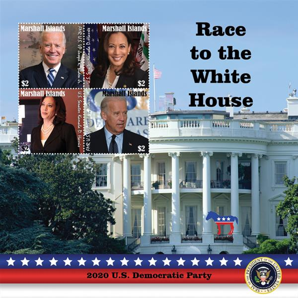2020 $2 Race to the White House - Joseph R Biden and Kamala D Harris, Mint Sheet, Marshall Islands