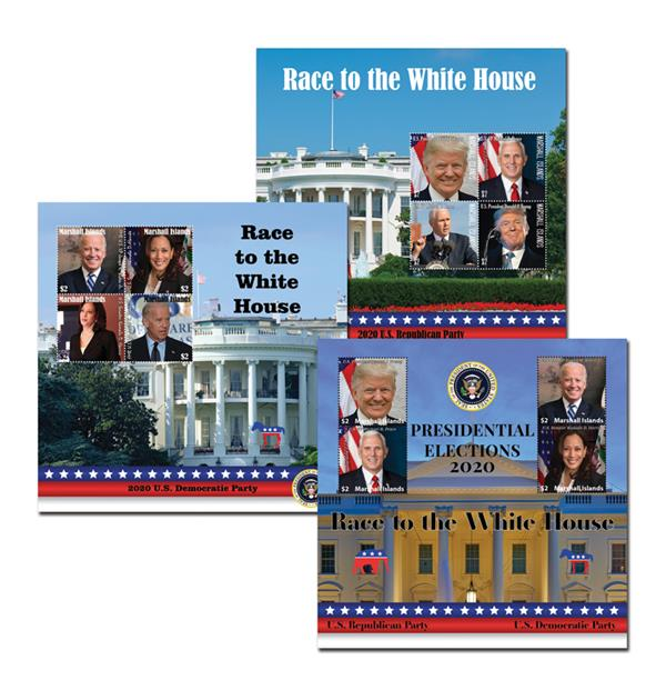 2020 $2 Race to the White House Mint Sheet Collection, Set of 3, Marshall Islands