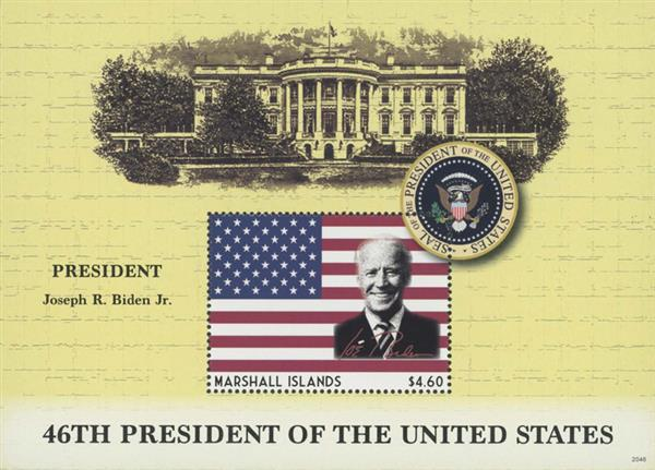2021 $4.60 Joseph R. Biden Jr. 46th President of the United States, Mint Souvenir Sheet, Marshall Islands