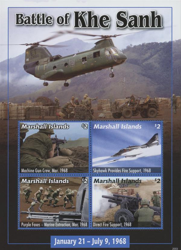 """2020 $2 Vietnam War -""""Battle of Khe Sahn, Mint Sheet, Marshall Island"""