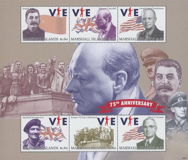 2020 75th Anniversary of VE Day - Mint Sheet of 6 Stamps, Marshall Islands