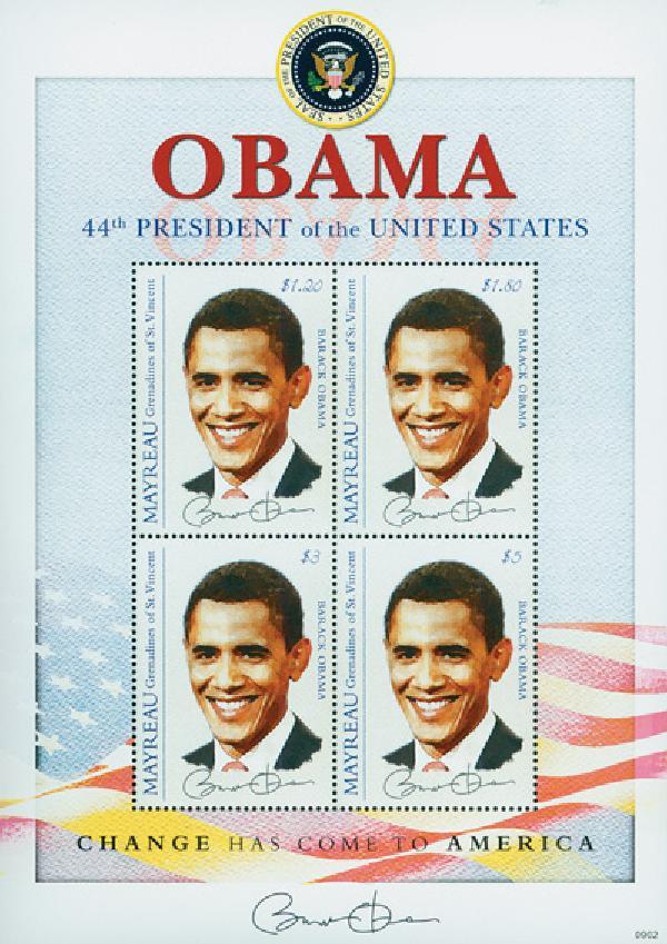 2009 President Barack Obama, 4 Stamps, Mint, Mayreau