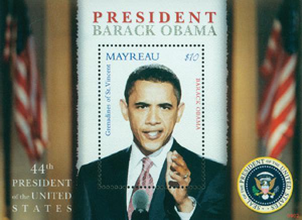 2009 President Barack Obama, Mint, Souvenir Sheet, Mayreau