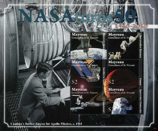 2010 Mayreau NASA 50 Yrs. 6v M