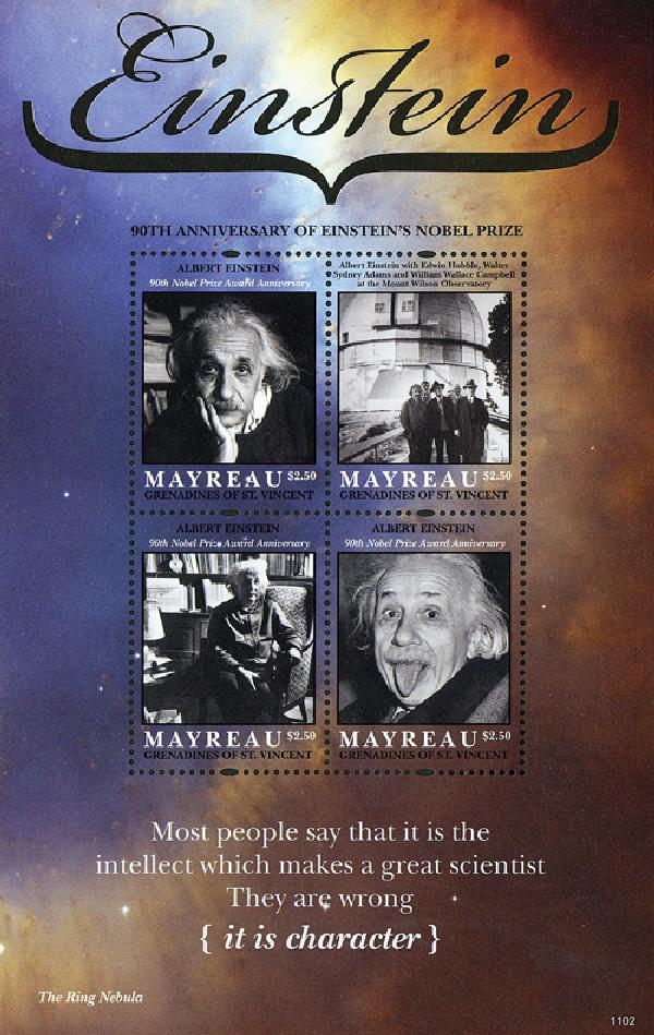 2011 Mayreau Albert Einstein Sheet of 4
