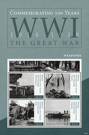 2014 Mayreau $3.25 100th Anniversary of World War I Mint Sheet of 4 Stamps