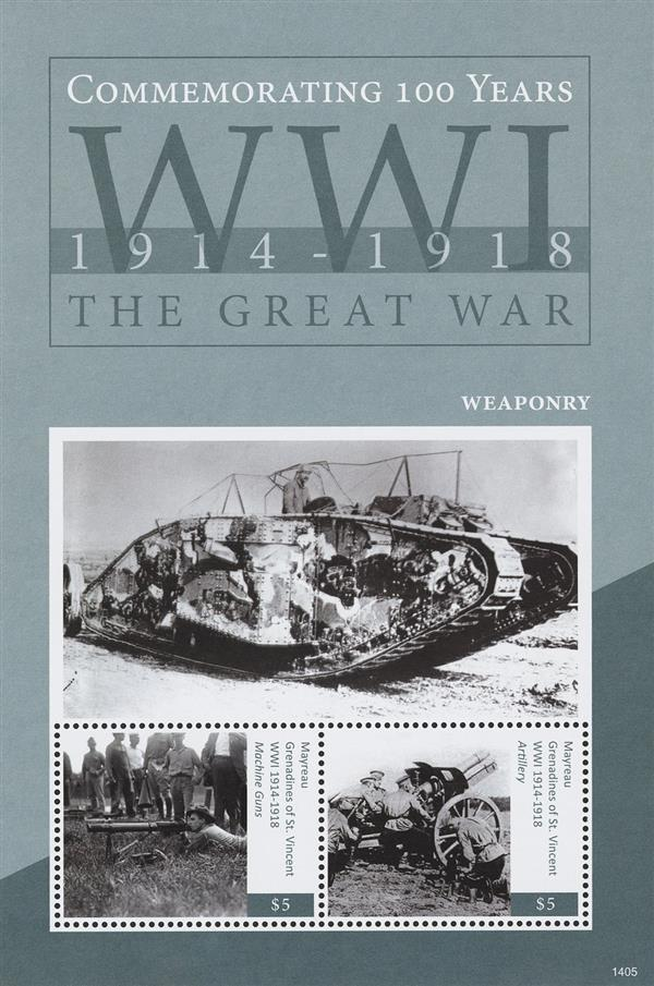2014 $5 Commemorating World War I 1914-1918; Weaponry; Souvenir Sheet of 2