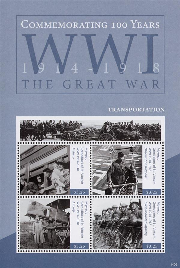2014 $3.25 WWI 100th Anniversary- Transportation, Mint Sheet of 4 Stamps, Mayreay