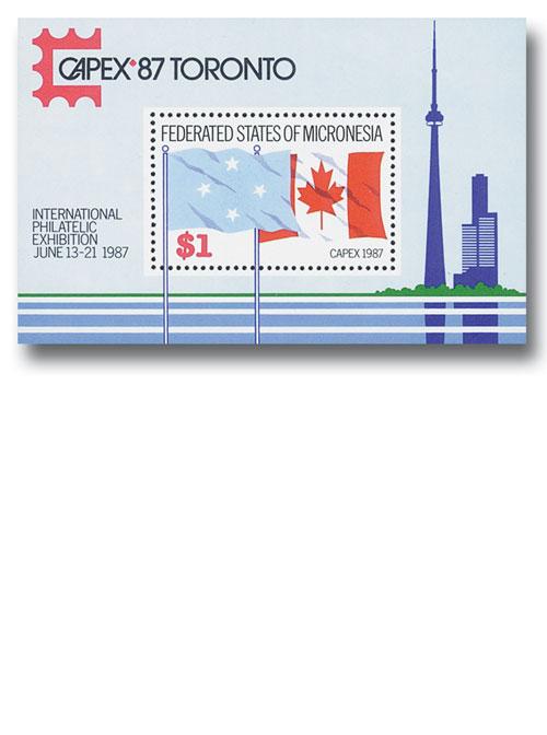 CAPEX 87 Toronto Souvenir Sheet, Mint, Micronesia