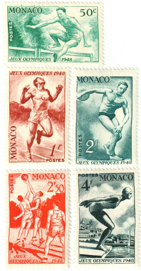1948 Monaco Olympic Games stamps