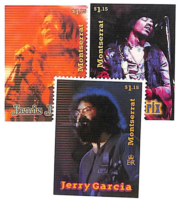 1997 $1.15 Montserrat Jerry Garcia, Jimmy Hendrix, & Janis Joplin