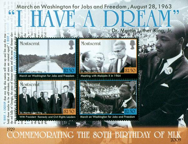 2009 Martin Luther King 80th Birth Anniversary, Mint, 4 Stamps, Montserrat